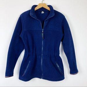 Vintage fleece jacket zip up cinched waist blue